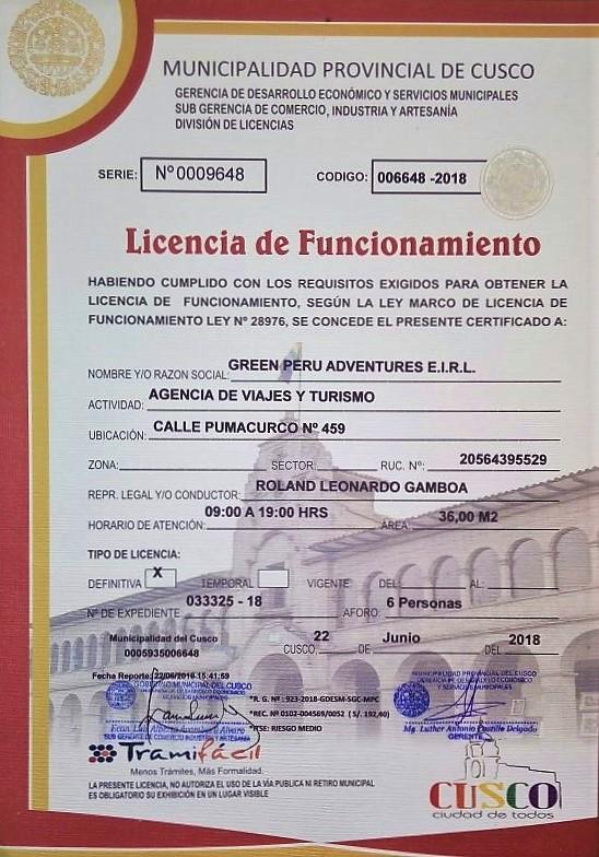 licencia de funcionamiento